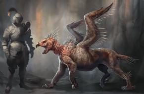 фэнтези, существа, крылья, фон, существо
