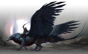 фэнтези, существа, меч, мужчина, фон, птица, существо