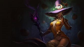 шляпа, эльф, посох, взгляд, фон, девушка
