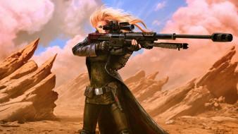 научная фантастика, девушки с оружием, фэнтези-арт, концепт-арт, футуристический, цифровое искусство