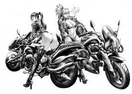 униформа, девушки, скетч, мотоцикл, взгляд, фон