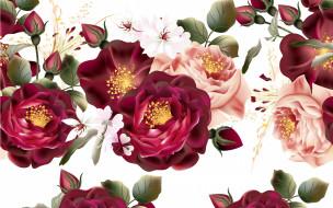 бутоны, винтаж, цветы, белый фон, текстура, розы, ретро