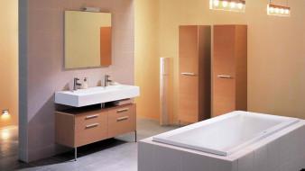 ванна, шкафы, умывальник