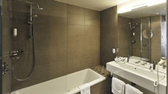 ванна, зеркало, умывальник, душ