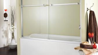 интерьер, ванная и туалетная комнаты, цветок, полотенца, ванна