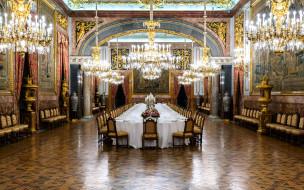 интерьер, дворцы,  музеи, люстры, стол