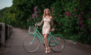 девушка, взгляд, фон, велосипед