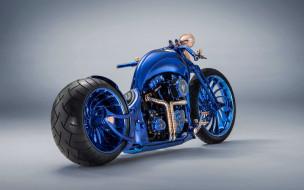 чоппер, синий, американские мотоциклы, роскошный