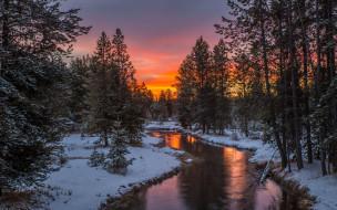 лес, снег, река