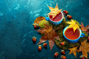 чай, осень, листья