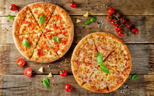 wood, пармезан, базилик, пиццы, помидоры, сыр