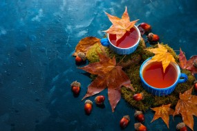 листья, чай, мох, чашки, осень