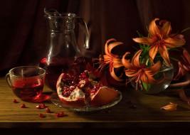 кувшин, цветы, лилии, кружка, сок, чашка