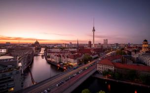 город, Sunset, Berlin