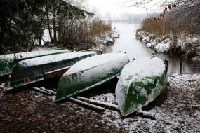 зима, снег, река, лодки