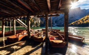 озеро, лодки