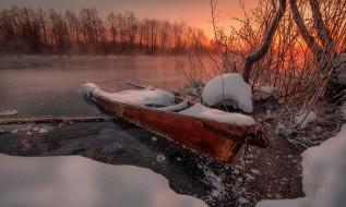 река, лодки, зима, снег