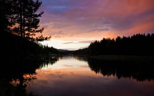 небо, лес, закат, река