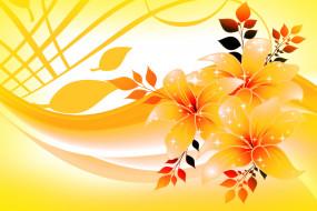 цветы, фон, желтый