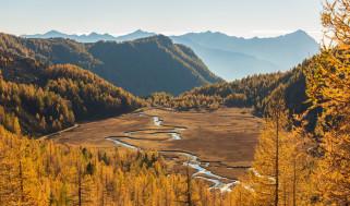 солнце, Италия, деревья, река, долина, горы