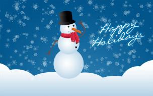 снеговик, снежинки, снег