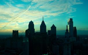 филадельфия, города, - панорамы, небо, облака, здания, дома