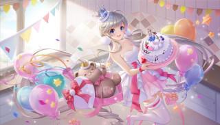 шарики, флажки, корона, девушка, праздник, торт, мишка