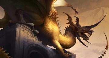 здание, фон, дракон