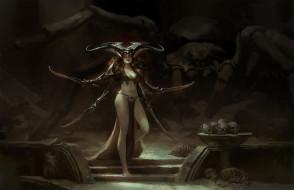 девушка, фон, меч, череп