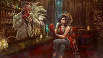 оружие, бар, маска, фон, мужчина, девушка