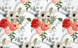 векторная графика, цветы , flowers, цветы, фон, текстура, pattern, floral