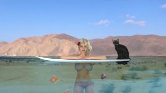 3д графика, люди и животные , people and animals, фон, взгляд, девушка