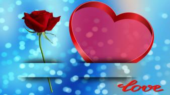 сердечко, фон, роза