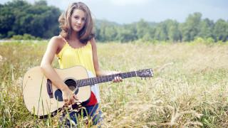 взгляд, фон, гитара, девушка