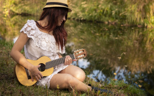 девушка, взгляд, фон, гитара