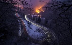 дорога, огни, ночь