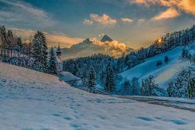 пейзаж, закат, горы, Бавария, холмы, природа
