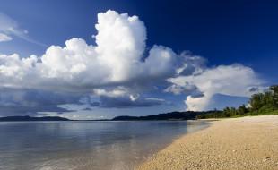 озеро, небо, облака, берег
