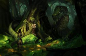 змей, лес, фон, люди