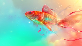 фон, вода, рыбка
