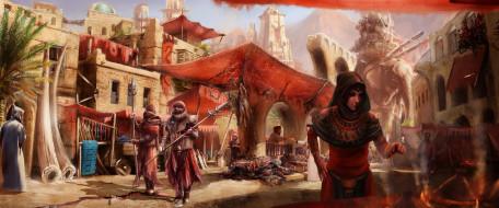 город, слон, мушкетеры, шпаги, друзья, город, огонь, мужчины, девушка, фон