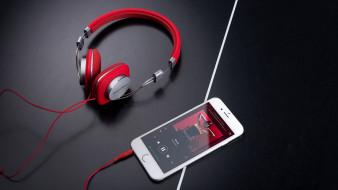 смартфон, музыка, наушники, стиль, провод, белый, красные