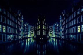 ночь, город, Amsterdam