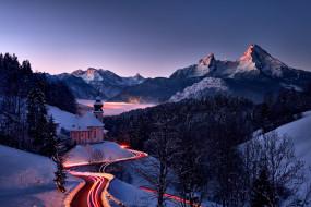 горы, природа, холмы, вечер, дорога, снег, пейзаж