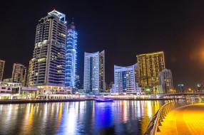ОАЭ, дома, Дубай, канал, фонари