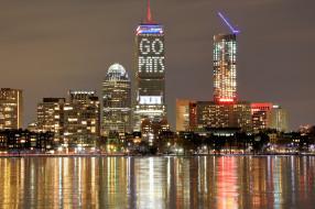 небоскрёбы, США, набережная, фонари, вечер, дома, Бостон