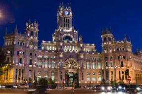 Мадрид, огни, Испания, дворец, город, Сибелес, Площадь