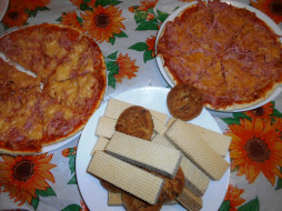 пицца, печенье, вафли, еда