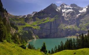 горы, озеро, лес, луга