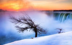 обрыв, дерево, водопад, снег